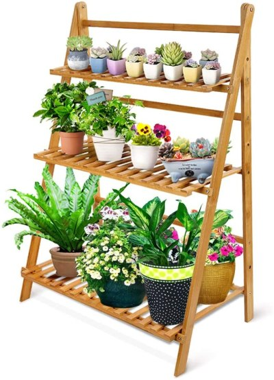 Amazon: OGORI Bamboo Wood Ladder Plant Stand $46.99 (Reg. $56.99)