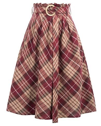 Amazon: 60% OFF on Pleated Flared Plaid Skirt