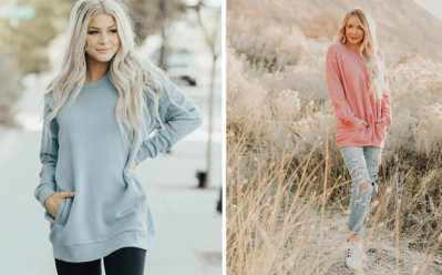 Jane: Tunic Sweatshirt with Pocket ONLY $19.99 (Regularly $40) – Available in 10 Colors!