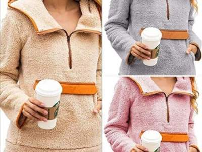 Amazon: Womens Sherpa Pullover Fuzzy Fleece Sweatshirt Hoodie, 60% off after code!