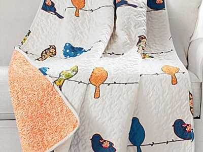 Zulily: White & Orange Rowley Birds Quilted Throw ONLY $22.99 (Reg $55)