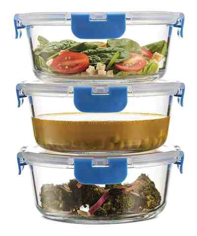 Zulily: Blue Round Glass Food Container - Set of Three Just $12.79 (Reg. $29.99)