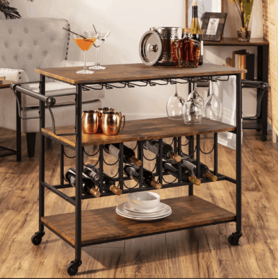 BCP: 45 in Industrial Wood Shelf Bar & Wine Cart $124.99 (Reg $236.99)