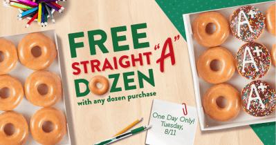 "FREE Krispy Kreme Straight ""A"" Dozen w/ Any Dozen Purchase on August 11th + FREE Coffee & Donut for Teachers"
