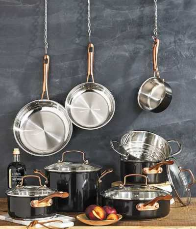 Macy's: Onyx Black & Rose Gold 12-Pc Stainless Steel Cookware Set $149.99 (Reg $334.99)