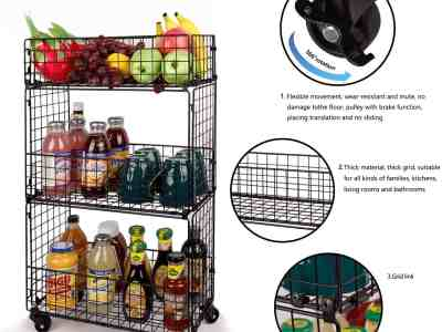 Amazon: 3-Tier Metal Utility Storage Cart-with Mesh Baskets For $23.39