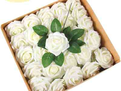 Amazon: Adeeing Artificial Flowers Ivory Roses 50pcs Only $8.49