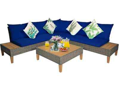 Until Gone: Acacia Wood and Rattan 8-Piece Patio Sectional $1,199.99 (Reg $2,309.99)