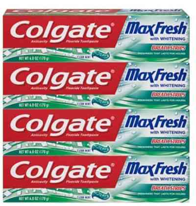 Amazon: 4 Pack Colgate Max Fresh Whitening Toothpaste with Breath Strips for $8.58 (Reg. Price $13.96)