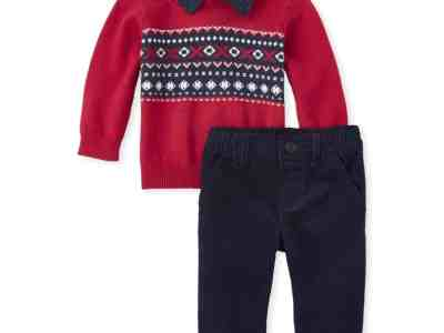 Walmart: The Children's Place Baby Boy Collared Fairsile Sweater & Pant Set For $15 (Reg.$34.97)