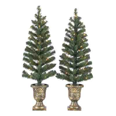 Walmart: Holiday Time Prelit Bronze Conical Christmas Trees (Set Of 2), 3.5 Ft For $18.98