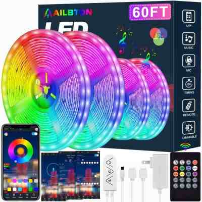 Amazon: Led Strip Lights,60ft Led Light Strip Music Sync Color Changing RGB Led Strip Built-in Mic for $33.99