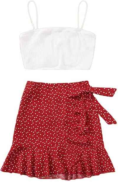 Amazon: Crop Cami Top and Belted A Line Skirt Only $5.99