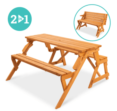 BCP: 2-in-1 Outdoor Interchangeable Wooden Picnic Table ONLY $149.99 (Reg $210)