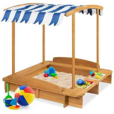 BCP: Kids Wooden Cabana Sandbox w/ Benches, Canopy Shade, Sand Cover, 2 Buckets $139.99 (Reg $254.99)
