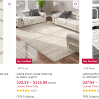 Way Day Sale! Area Rugs UP TO 80% Off!