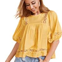 Amazon : Short Sleeve Round Neck Sheer Button Ruffle Hem Cotton Top Just $5.70 Code (Reg : $18.99)