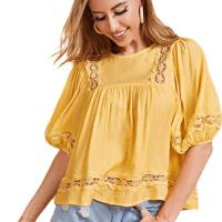 Amazon : Short Sleeve Round Neck Sheer Button Ruffle Hem Cotton Top Just $5.70 Code (Reg : $18.99)