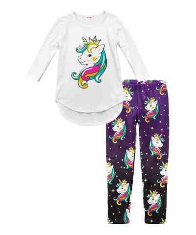 Zulily: White Unicorn Tunic & Purple Unicorns Fleece-Lined Leggings - Toddler & Girls Just $17.99 At (Reg.$60)