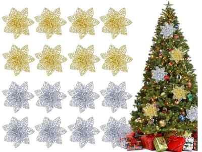 Amazon: 16 Pcs Glitter Poinsettia Flowers Christmas Tree Ornaments Decorations $6 ($19)