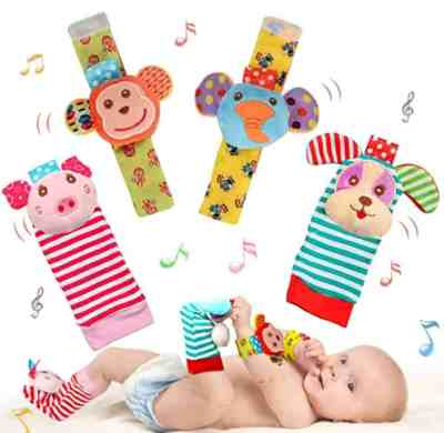 Amazon: 4 Pack Soft Baby Wrist Rattle Foot Finder Socks Set for $11.48 (Reg. Price $15.99)