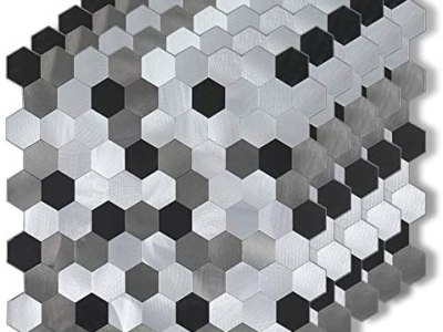 Amazon: 5-Piece Metal Backsplash Tile Peel and Stick Mosaics for $26.49