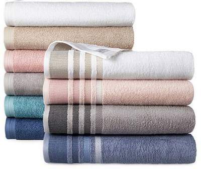 JC PENNEY: Home Expressions Solid or Stripe Bath Towel Collection $3.74 After code at Reg. $10.00
