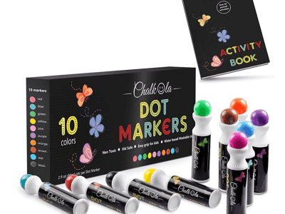 Amazon: Chalkola Washable Dot Markers, 10 colors with Activity Book for 14+