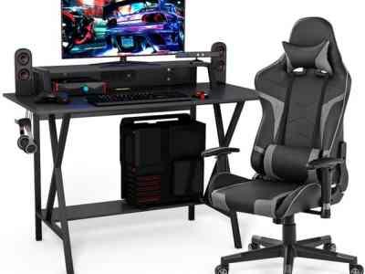 Tanga: Goplus Gaming Computer Desk&Massage Gaming Chair Set w/Monitor Shelf Power $299.99 At Reg.$549.99