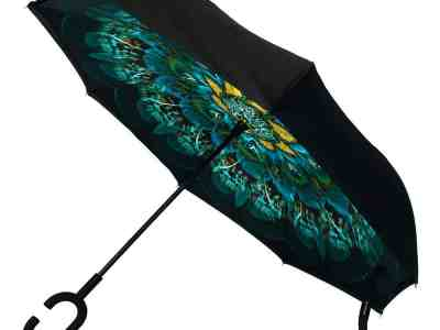 Zulily: Black & Blue Peacock Double-Layer Inverted Umbrella Now $12.99