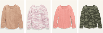 Old Navy: Great Deal on Cozy Plush-knit Long Sleeve Tees for Women and Girls