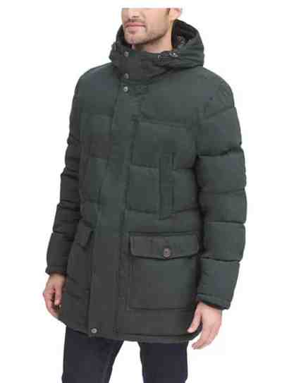 Kohl's: Men's Dockers® Water Resistant Quilted Long Hooded Parka For $125.00 At Reg.$250.00