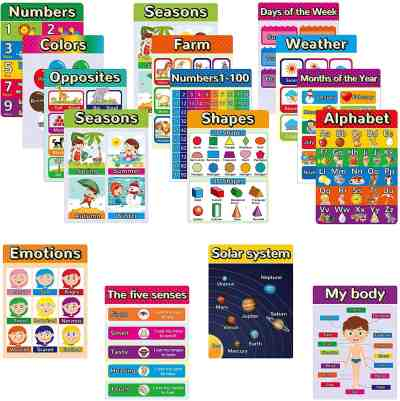 Amazon: 16pcs Educational Posters for Preschool, Toddlers Learning Posters $11.5 ($23)