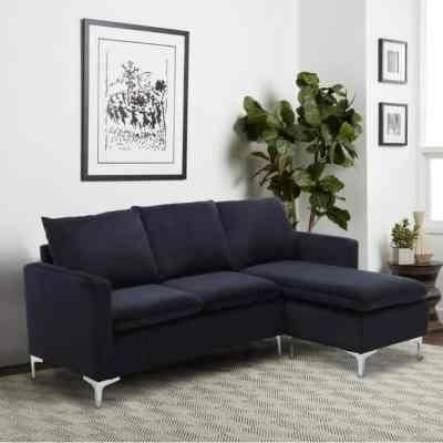 Home Depot: Black Velvet 3-Seater L-Shaped Reversible Sectional Sofa $441.00 (Reg $812.89)