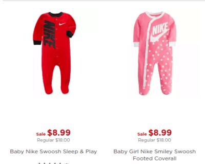 Kohl's: Nike Baby Coverall/ Sleep & Play for $8.99!!(Reg. $18)