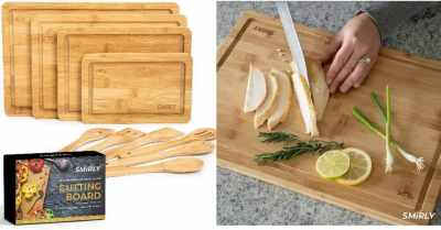 Amazon: Smirly Bamboo Cutting Board for Kitchen: Set of 4 w/ 6 Utensils $17.59 ($26)
