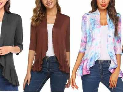 Amazon: Women's Open Front Cardigan 3/4 Sleeve Draped Ruffles $11.6 ($25)