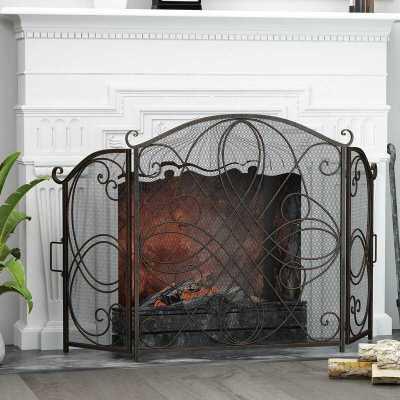 WAYFAIR: Natalina 3 Panel Iron Fireplace Screen For $88.99 + Free shipping At Reg.$118.99