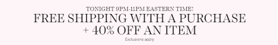 Victoria's Secret: 40% Off an item + Free Shipping! 2 Hours only|6pm PST - 8PM CST - 9PM EST, You can do multiple orders