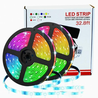 Amazon: 32.8 ft. Color Changing LED Light Strip Kit with Remote and Control Box for $17.49 W/Code (Reg. $34.99)