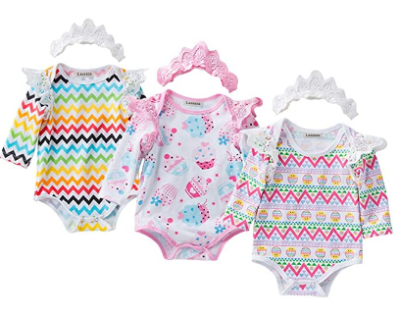 Amazon: Baby Girls 3 Pack Organic Cotton Onesies with Headband - 50% off applied at checkout