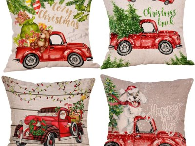 Amazon: Christmas Pillow Cover Christmas Cartoon Car Santa for $6.50 (Reg. $12.99)