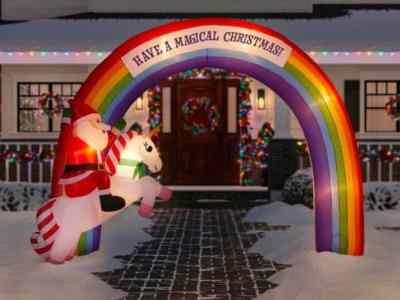 HOMEDEPOT: 7.48 ft. Inflatable Archway Mixed Media Unicorn Rainbow For $129.00