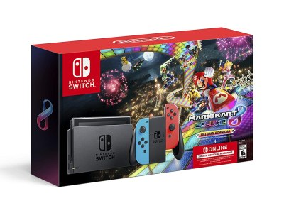 Amazon: Nintendo Switch Neon Blue & Neon Red Joy-Con + Mario Kart 8 Deluxe (Full GameDownload) $494.95