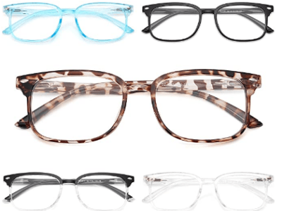 Amazon: NOVIVON 5-Pack Blue Light Blocking Reading Glasses, Fashion Square for $5.99 W/Code (Reg. $14.99)