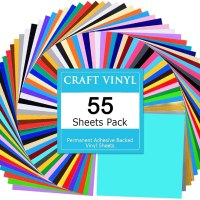 Amazon: Vinyl 55 Assorted Colors Permanent Adhesive Vinyl Sheets 12 x 12 inch for $29.99