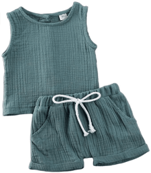 Amazon: Baby Girls Boys Cotton Linen Shorts Set Sleeveless for only $5.66 W/Code (Reg. $18.88)