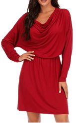 Amazon: Long Sleeve Folds Cowl Neck Casual Loose Mini Dresses for only $6.90 (Reg. $22.99) after code!