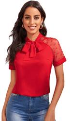 Amazon: Women's Tie Neck Polka Dots Mesh Sleeve Elegant Top for only $5.99 (Reg. $19.98) after code!