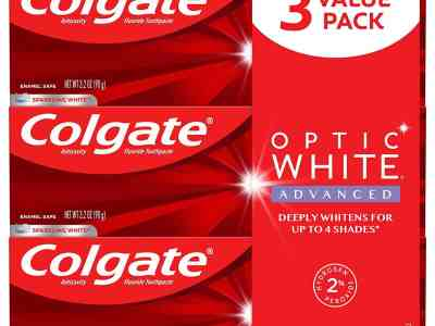 Amazon: Colgate Optic White Advanced Teeth Whitening Toothpaste with Fluoride, 3.2 Ounce 3 Pack for $8.99 (Reg. Price $13.50)